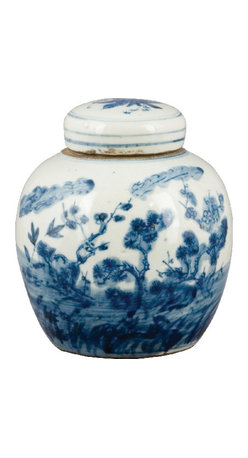 "Oriental Danny - Blue and white porcelain jar - Chinese blue and white wares are traditional accessories that fit into a room of any style and color. This small hand painted jar is designed with ""pine and orchid garden scene"", which symbolizes longevity."