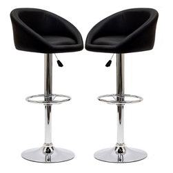 Modway - Modway EEI-938 Marshmallow Bar Stools Set of 2 in Black - The Marshmallow Bar Stool is an innovative work of modern cylindricity. Move your seating experience forward with inner movements that return delightful results. Positioned on a height adjustable steel base, Marshmallow is ideal for modern bars and home parlor areas ready for ascendancy.