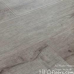 "AJ Rustic Modern Laminate - AJ Trading AJ Trade Mega Clic Oregon White reclaimed oak 12.3 mm x 7"" wide board, wire brushed embossed laminate AC3 rating, available at HFOfloors.com Hardwood Floors Outlet in Murrieta, CA."