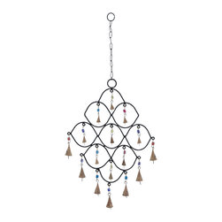 Metal Bead Wind Chime with Colorful Beads - Trendy and modern, this metal bead wind chime displays great elegance and highlights your living space with adorable decoration. This delightful wind chime is ideal to create a great ambiance in your living room, or for outdoor areas like patio or porch. It creates conducive environs in your home. Sporting an exclusive design with elegant curves, at least nine bells hang inside the curves and seven bells are attached to its lower end.  This wind chime certainly looks gorgeous and creates an appealing sound. It?s provided with a long chain link, and you can hang this wind chime at any desired place. This decorative piece is sure to enliven your living space with great beauty. Its sturdy and durable construction with high quality metal provides long lasting performance year after year.. It comes with a dimension: