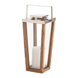 Zeke Coastal Beach Small Modern Light Wood Silver Floor Candle Lantern - Sleek, modern and seriously stylish, this tall hurricane lantern conveys a strong mid century look.  We love how this piece delivers a slightly casual look with a seriously elegant design,  making it ideal for indoor or outdoor settings.