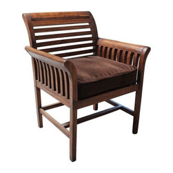"""Pre-owned Slated Teak Armchair with Brown Velvet Seat - Just Reduced!    Sleek with slats, this teak barrel chair is outfitted with a comfy seat cushion. We have two of these in stock, but they are being offered individually. Contact Support to check stock.     Note: One chair has a broken slat in the seat, could be easily fixed.    Seat height is 18.5""""  Arm height is 25"""""""