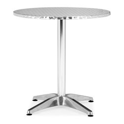 Zuo Modern - Zuo Christabel Round Table in Aluminum - Round Table in Aluminum belongs to Christabel Collection by Zuo Modern Sitting on a busy street corner, drinking a cup of coffee, updating the daily blog, while having a meal, the Christabel series is the perfect table to fit any caf� setting. This all aluminum table is MDF wrapped. The base sits on adjustable feet to contour to level. This series comes with everything as well as an adjustable a fix, ranging from table height to bar height. The Christabel is perfect for any setting. Round Table (1)