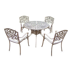 Oakland Living - 5-Pc Dinning Set in Antique Bronze Finish - Includes table, four stackable chairs with cushions and metal hardware. Traditional lattice pattern with scroll work. Handcast. Hardened powder coat. Fade, chip and crack resistant. Warranty: One year limited. Made from rust free cast aluminum. Minimal assembly required. Table: 42 in. Dia. x 29 in. H (44 lbs.). Chair: 23 in. W x 22 in. D x 35.5 in. H (25 lbs.)The Oakland Mississippi collection combines grace style and modern designs giving you a rich addition to any outdoor setting. We recommend that the products be covered to protect them when not in use. To preserve the beauty and finish of the metal products, we recommend applying an epoxy clear coat once a year. However, because of the nature of iron it will eventually rust when exposed to the elements.