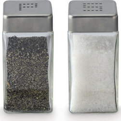 """Cuisinox - Cuisinox Glass Salt & Pepper Shaker Set - This simple, yet elegant salt and pepper shaker set are clearly identified as """"salt"""" and """"pepper"""" by their """"S"""" and """"P"""" on the the stainless steel top. These shakers' flat glass surface makes them ideal for any restaurants custom decal."""