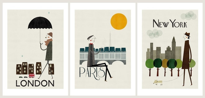 Contemporary Artwork Cities Set of Three Prints
