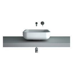 Maestrobath - Teknoform Jimmy Small Fancy Bathroom Sink - A simple square shape with rounded edges demonstrates pure beauty in simplicity. This contemporary bathroom sink is elegantly designed to fit into your bathroom perfectly on a counter top or any other support fixture. Made out of TeknoForm, a durable polymer-based material, the Italian vessel sink is available in a clean white color and it may very well be the perfect sink for your contemporary space.