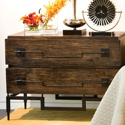 2 Drawer Wide Chest - Dark Brushed Mango - Geometric detail hand-forged from natural iron picks up the dark tones in the exotic brushed mango wood of the Two-Drawer Wide Chest.  With oversized pulls that emphasize the horizontal dimension of this ideal bedroom or bath piece, the roomy drawers are easy to access and striking in appearance.  Tapering legs keep the look spacious.