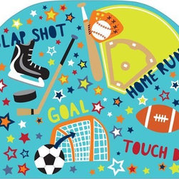 "Brewster Home Fashions - Junior Varsity Headboard Decal - Any little sports fanatic will love this Junior Varsity theme headboard decal. With the convenience of a peel & stick decal you can instantly add a fun focal point to the room. Your little all-star will love the fun graphics and energetic words on this cute headboard decal. Creates a finished look in the room and adds a cool look to a twin size bed. Measures 26""x41"""