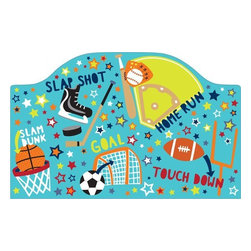"""Brewster Home Fashions - Junior Varsity Headboard Decal - Any little sports fanatic will love this Junior Varsity theme headboard decal. With the convenience of a peel & stick decal you can instantly add a fun focal point to the room. Your little all-star will love the fun graphics and energetic words on this cute headboard decal. Creates a finished look in the room and adds a cool look to a twin size bed. Measures 26""""x41"""""""