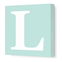 "Avalisa - Letter - Upper Case 'L' Stretched Wall Art, 12"" x 12"", Sea Green - Spell it out loud. These uppercase letters on stretched canvas would look wonderful in a nursery touting your little one's name, but don't stop there; they could work most anywhere in the home you'd like to add some playful text to the walls. Mix and match colors for a truly fun feel or stick to one color for a more uniform look."