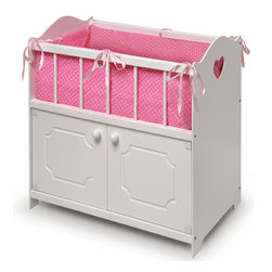 Badger Basket - White Storage Doll Crib with Bedding - Badger Basket's Storage Doll Crib suits your dolly at bed time and includes a nice sized storage cabinet to keep her things organized for the day!; Pink ribbons and heart cutouts on the sides add a complimentary touch to the soft, fabric bedding.; Bedding includes bumper/liner that fully lines the inside of the crib, a blanket, and a pillow.; The two cabinet doors with knobs open to reveal ample storage room for your doll clothes and accessories.; Concealed magnets holds the doors closed.; Overall crib measures 22 inches L x 12.25 inches D x 22 inches H.; The interior of the cabinet is approximately 21.75 inches W x 11 inches D x 10.25 inches H.; Crib sleeping area is approximately 10.5 inches W x 21.5 inches L x 7 inches H.; Height from top of crib rail to floor measures 20 inches.; Taller crib design is comfortable for children of all ages to play with.; Pretty star pattern coordinates with the crisp white finish.; Designed for dolls up to 22 inches .; Can be enjoyed by children from three years old and up.; All paints and finishes are non-toxic.; Crib is made of wood and engineered wood.; Liner, pillow, and blanket are made with 100% polyester fabric and polyester fill.; Wipe the crib clean as needed. Hand washing in cold water recommended for the bedding.; Can be enjoyed by children from three years old and up.; Adult assembly required.; Illustrated instructions included.; All paints and finishes are non-toxic.; Doll not included.; Meets or exceeds all current, applicable safety standards.; This item is to be used with dolls only and is never to be used with real infants or pets.; Actual product may vary slightly from shown and described.; All measurements approximate.; Product includes a warranty of 30 Days Parts to the original purchaser.; This item ships in its original carton which may include a photo of the product.; There are holes cut into the back panels of this item that are required by safety standards and they are not a product defect.; WARNING: CHOKING HAZARD - Small parts. Not for children under 3 yrs.