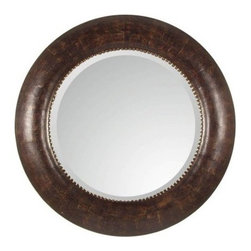 Uttermost Leonzio Brown Leather Mirror - 42 diam. in. - Whether your style is upscale or down home the rich leather of our Leonzio Mirror will create dramatic appeal. Designed as a contemporary art piece this round mirror features a distressed hand-finished brown leather frame. Silver metal studs rim and accentuate the glistening beveled mirror. Technologically superior protective backing and quality components ensure this beauty will last a lifetime.Here's what you need to know to hang your new Uttermost Mirror. Hanging a mirror even if it is a large heavy piece is not a problem if you have the right hanging hardware and a hammer. The best hanging hardware for most walls is the J-hook. It is designed to keep the nail that goes into the wall at a sharp angle so that even in drywall it will stay in place. It is important that the J-hook be properly weighted for the item you want to hang. On all Uttermost products the proper J-hook and nails are included to make sure you have exactly the hardware you need for hanging each piece. On the largest Uttermost mirrors we provide a self-leveling adjustable J-hook. With this hardware even if the item is slightly uneven the hangers can be adjusted without moving the nails from the wall.About UttermostThe mission of the Uttermost Company is simple: to make great home accessories at reasonable prices. This has been their objective since founding their family-owned business over 30 years ago. Uttermost manufactures mirrors art metal wall art lamps accessories clocks and lighting fixtures in its Rocky Mount Virginia factories. They provide quality furnishings throughout the world from their state-of-the-art distribution center located on the West Coast of the United States.