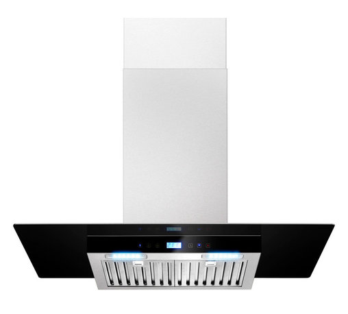 """AKDY - AKDY AK-ZH837C Euro Stainless Steel Wall Mount Range Hood, 30"""" - The AKDY angled H837C 30"""". range hood is designed to hang freely and act as a focal point above your kitchen wall. It is equipped with two 1.8-watt LED bulbs that provide brilliant task lighting and opaque glass to bring out your style. The 3-speed blower features a 760 Cubic feet per minute range and a multi-speed control provides fast and effective performance."""
