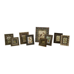 """IMAX CORPORATION - Josephine Decorative Frames - Set of 9 - Enameled and bejeweled set of 9 assorted picture frames. Set of 9 in various sizes measuring around 19""""L x 8.7""""W x 14.75""""H each. Shop home furnishings, decor, and accessories from Posh Urban Furnishings. Beautiful, stylish furniture and decor that will brighten your home instantly. Shop modern, traditional, vintage, and world designs."""