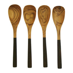 Teak Serving Spoons - Set of 4 - Add a pinch of style to your meals using these two-tone teak spoons. Highly durable and alluringly beautiful, they're are a must-have.