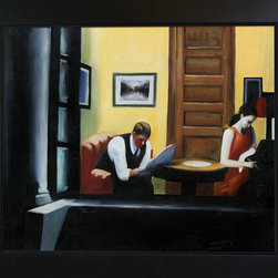 "overstockArt.com - Hopper - Room in New York Oil Painting - 20"" x 24"" Oil Painting On Canvas Room in New York is a remarkable oil painting with exceptional use of color, detail and brush strokes. The original was created in 1932. This oil painting is filled with emptiness and silence, like his other works the scene created is still and tense. This is a very strong and beautiful piece that will be contemplated and admired in your home by all who visit. Hopper received many honors in his lifetime for his exceptional use of color, detail, and subject matter. His classic works capture the authenticity of urban and rural American life with emotions and beauty that have placed them among the lasting and popular images of the American 20th century landscape. Make this painting a part of your home collection."