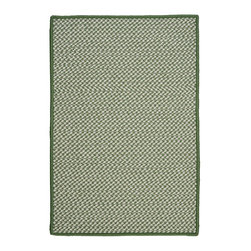 Colonial Mills, Inc. - Indoor/Outdoor Houndstooth Tweed, Leaf Green Rug, 5'X8' - Stop worrying. Don't you need a little fun underfoot? The braided construction on this rug whispers of yesterday, but the stylish green and white houndstooth and square corners scream now! Woven in worry-free polypropylene, it's fade and stain resistant and reversible for long-lasting comfort, color and beauty.