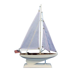"Handcrafted Nautical Decor - Intrepid 16"" - Wooden Sailboat Centerpiece - Not a model ship kit. Attach sails and this sailboat centerpiece is ready for immediate display. Brighten your day, or any room of your home, with this delightfully fun Intrepid model. Perfect nautical decor gifts for friends, children, or party guests, they also make excellent nautical decorations or sailboat centerpieces for a reception or group event. Liven your office, beach house, or sunroom with one of these colorful sailboat models today!"