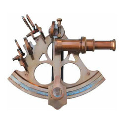 "6"" Serialized Titanic Antique Patina Brass Sextant w/ Hardwood Case - This is a full-sized solid brass sextant with an antique patina finish. It features adjustable mirrors and four swing-arm filters in heavy mounts. The Rack and Pinion design has an adjustment knob that drives a pinion gear against machined teeth on the limb of the sextant to allow fine adjustment of the inclination angle. A built-in magnifier can be swung into position to assist in reading the German Silver vernier scale. The index mirror can be adjusted using a convenient brass knurled screw on the top of the sextant, and the horizon mirror has a thumbscrew adjustment on the back of the sextant. The sextant measures 8"" tall, 8.25"" wide, 3.75"" deep, and weighs 3 lbs. The sextant comes with a beautiful velvet lined hardwood storage and display box that has fitted cut-outs to securely hold the sextant. The case measures 9.75"" square and 5 3/8"" tall, and weighs 4.5 lbs. This reproduction sextant is fully functional but not intended for navigation."