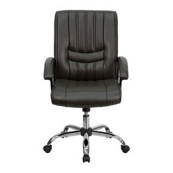 Flash Furniture - Flash Furniture Office Chairs Leather Executive Swivels X-GG-NRB-6709-TB - This attractive office chair is appealing with its vertical line inset stitching in the seat and back. This chair not only exudes appeal but comfort with plush padding in the seat and back. Upgrade your home or office chair with this charming brown leather chair from Flash Furniture. [BT-9076-BRN-GG]