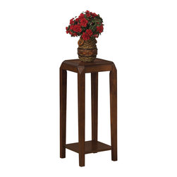 None - Oak Brown Veneer Plant Stand - This simple yet transitional plant stand features smooth lines and shaker square legs. It is finished with a brown oak veneer accent that is sure to blend into any decor.