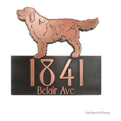 Retriever Dog Address Plaque - Retriever Dog Address Plaque is an excellent choice for dog lovers. While the Golden Retriver consistantly among the top breeds in popularity, you can have your custom plaque with a Chesapeake Bay Retriever, Black Labrador, Yellow Labrador, or any other breed that we can find artwork for.