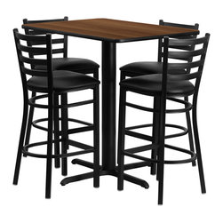 Flash Furniture - Flash Furniture 42 Inch Rectangular Walnut Laminate Table Set with 4 Bar Stools - No need to buy in pieces, this complete bar height table and stool set will save you time and money! This set includes an elegant Walnut Laminate table top, X-Base and 4 metal Ladder back bar Stools. Use this setup in bars, banquet Halls, restaurants, Break Room/Cafeteria settings or any other social gathering. Mix in bar height tables with standard height tables for a more varied seating selection. This Commercial Grade table set will last for years to come with its heavy duty construction. [HDBF1020-GG]