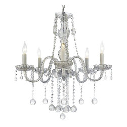 Gallery - Gallery T40-331 Authentic 5 Light 1 Tier Crystal Candle Style Chandelier - Features: