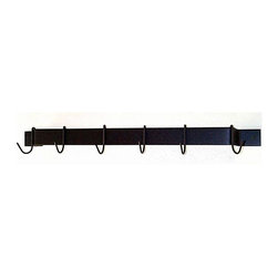 Grace Collection - 36 in. Wall Mount Utility Pot Rack (Aged Iron - Finish: Aged IronThis convenient steel rack is 36 inches long, mounts easily to any wall, and features 6 hooks for hanging pots and utensils in your kitchen, tools in your garage, or garden utensils in your storage shed.  Comes in your choice of 8 finishes so you can match it to the décor of any room. * Wall mounted. Made from wrought steel. Rectangular shape. Includes six hooks and mounting hardware. Holds pots, pans or utensils. 0.18 in. cold rolled steel hooks. Copper painted finish. 2 x 0.18 in. flat steel bar. 36 in. W x 3 in. D x 3.5 in. H (10 lbs.)