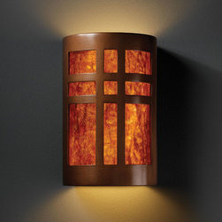 Justice Design Group - Ambiance Antique Copper Large Cross Window Two-Light Bathroom Wall Sconce - - Large Cross Window Open Top and Bottom Wall Sconce. Mica Shade is for Indoor Only.  - Shade Detail - Mica  - Shade Material - Ceramic  - Shade is made in the USA; canopy and socket(s) are imported Justice Design Group - CER7295ANTCMICA