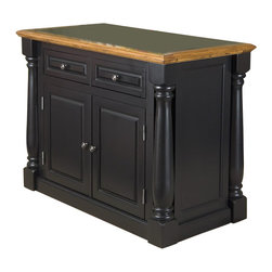 Home Styles - Home Styles Monarch Roll-Out Leg Granite Top Kitchen Island in Black and Oak - Home Styles - Kitchen Carts - 500994 - The Monarch Kitchen Island blends upscale design with state-of-the-art functionality. Stylish design features include a solid hardwood, distressed Oak finished top with profiled edges and a black granite inset; framed side and back panels; Brushed Nickel hardware; and a multi-step Black finish over hardwood solids and engineered wood. Functional elements include two storage drawers and a two-door storage cabinet with four adjustable shelves. What makes this island really unique is the hidden sliding mechanism connected to the back two shaped and turned posts. The mechanism provides easy mobility and independent movement of the two posts for expansion of the breakfast bar. Either with the breakfast bar closed or in use, this piece has a polished look by being consistently styled on both the approach and working sides. Size: 48 x 25 x 36 Size with breakfast extended: 48 x 40.5 x 36
