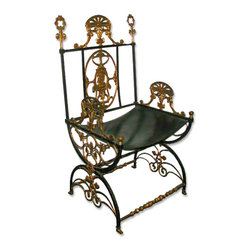 Oscar Bach - Antique- Consigned 19th C. Iron & Bronze Chair by Oscar Bach - Height: 38 in. (96.52 cm)