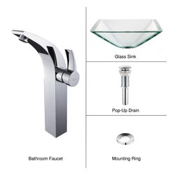 Kraus - Kraus C-GVS-901-19mm-14700CH Clear Aquamarine Glass Vessel Sink & Illusio Faucet - Add a touch of elegance to your bathroom with a glass sink combo from Kraus