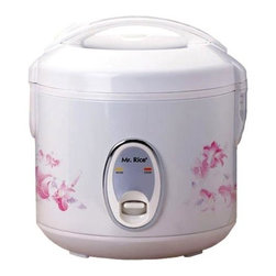 SPT Appliance - Sunpentown 6 Cups Rice Cooker w Floral Accent - More than just a rice steamer, this clever model from Sunpentown also cooks stew, soup, vegetables, and much more.  Lovely floral exterior stays cool to the touch, and safety lock button keeps the lid securely on.  Inner pot features a non-stick coating which comes completely out for easy serving and cleaning.  Once you own this you'll wonder how you ever did without this versatile appliance. Easy one-button operation. Automatic keep warm system, for up to 12 hours. Cool touch exterior. Air-tight lid locks in moisture and flavor. Cook and Keep Warm indicator lights. Removable non-stick inner pot with non-stick coating. Added cooking versatility with supplied steam tray. Condensation collection cup. Safety lock button. Capacity: 6 cups / 1.2 L. Input voltage: 120V / 60Hz. Power consumption: 500 W. 10.6 in. W x 10.6 in. D x 10.6 in. H (5.5 lbs.)Cook various dishes with this rice cooker. You can steam rice, porridge, soup, stew and much more. Features one-touch operation and convenient carrying handle. Automatically switches to Warm mode.
