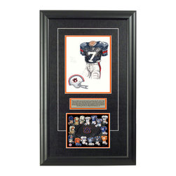 "Heritage Sports Art - Original art of the NCAA 1971 Auburn Tigers uniform - This beautifully framed NCAA football piece features an original piece of watercolor artwork glass-framed in an attractive two inch wide black resin frame with a double mat. The outer dimensions of the framed piece are approximately 17"" wide x 28"" high, although the exact size will vary according to the size of the original piece of art. At the core of the framed piece is the actual piece of original artwork as painted by the artist on textured 100% rag, water-marked watercolor paper. In many cases the original artwork has handwritten notes in pencil from the artist. Simply put, this is beautiful, one-of-a-kind artwork. The outer mat is a rich textured black acid-free mat with a decorative inset white v-groove, while the inner mat is a complimentary colored acid-free mat reflecting one of the team's primary colors. The image of this framed piece shows the mat color that we use (Orange). Beneath the artwork is a silver plate with black text describing the original artwork. The text for this piece will read: This is an original, one-of-a-kind watercolor painting of the 1971 Auburn Tigers uniform worn by 1971 Heisman Trophy winner # 7 Pat Sullivan and was used in the creation of this Auburn Tigers uniform evolution print and thousands of Auburn Tigers uniform evolution print and thousands of Auburn products that have been sold across North America. This original piece of art was painted by artist Marguerite Perry for Maple Leaf Productions Ltd. Beneath the silver plate is a 6.5"" x 7"" reproduction of a uniform evolution print that celebrates the history of the team. The print beautifully illustrates the chronological evolution of the team's uniform and shows you how the original art was used in the creation of this print. If you look closely, you will see that the print features the actual artwork being offered for sale. The 6.5"" x 7"" print is shown above. The piece is framed with an extremely high quality framing glass. We have used this glass style for many years with excellent results. We package every piece very carefully in a double layer of bubble wrap and a rigid double-wall cardboard package to avoid breakage at any point during the shipping process, but if damage does occur, we will gladly repair, replace or refund. Please note that all of our products come with a 90 day 100% satisfaction guarantee. Each framed piece also comes with a two page letter signed by Scott Sillcox describing the history behind the art. If there was an extra-special story about your piece of art, that story will be included in the letter. When you receive your framed piece, you should find the letter lightly attached to the front of the framed piece. If you have any questions, at any time, about the actual artwork or about any of the artist's handwritten notes on the artwork, I would love to tell you about them. After placing your order, please click the ""Contact Seller"" button to message me and I will tell you everything I can about your original piece of art. The artists and I spent well over ten years of our lives creating these pieces of original artwork, and in many cases there are stories I can tell you about your actual piece of artwork that might add an extra element of interest in your one-of-a-kind purchase."
