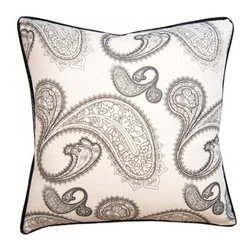 Squarefeathers - Black & White, Paisley Pillow - Black and White, Yin and Yang. The Black and White pillow collection will bring balance to your home decor. Made of faux linen and faux black crocodile trim. It has a soft and pump feataher/down insert inclosed with a zipper. Like all of our products, this pillow is handmade, made to order exclusively in our studio right here in the USA.