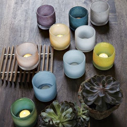Colored Glass Tealight Holders | west elm