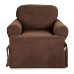 Sure Fit - Sure Fit Soft Suede T-Cushion Chair Slipcover - Add a clean, sleek look to your furniture with covers that have the look and feel of suede. With memory stretch fabric and all-around elastic, covers go on easily and stay in place.