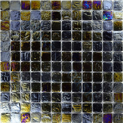 "Glass Tile Oasis - Pewter 1"" x 1"" Black 1"" x 1"" Iridescent Glossy and Iridescent Glass - Sheet size: 12"" x 12"""