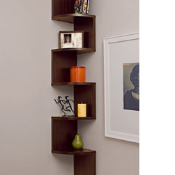 None - Laminated Veneer Corner Wall Mount Shelf - This unique corner wall-mount shelf has a fun and artsy design that will add to any wall decor you have. Five shelves are lined up on this walnut veneer piece on opposite sides,forming a corner shelf on both walls. It's both unique and stylish.