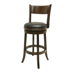 Boraam - Boraam Palmetto 24 Inch Bar Stool in Cappuccino Finish - Boraam - Bar Stools - 49124 - This beautifully constructed swivel stool is the perfect addition to your home. The attractively designed backrest plus the plush black seat, exuberates sophistication. The compatible design will undoubtedly merge seamlessly with any style kitchen, basement, game room, or bar! Constructed from solid hardwood, made with precision construction, and features a steel ball bearing swivel plate for a flawless three hundred and sixty degree swivel, making the Palmetto stool a durably solid piece of furniture. Performance tested by the leading testing facilities that are recognizable worldwide, purchasing this stool is not only a smart choice but also a wise investment. Additionally, the sleek bonded leather upholstery encases a high-density foam cushion providing the maximum level of comfort for all who sit.