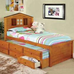 Furniture of America - Furniture of America Tree House Captain Twin Bed With 3 Drawer Twin Trundle - This captain-style twin bed with drawers is ideal for any child's room or guest room. The bed has a twin trundle to provide an extra sleeping spot,and the three spacious drawers make it easy to store clothing and extra blankets close by.