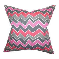 "The Pillow Collection - Achsah Zigzag Pillow Pink Gray 18"" x 18"" - Create a collection of bright and bold home accessories by adding this throw pillow. This accent pillow features a fresh color palette with shades of pink, gray and white. The zigzag pattern taps an eccentric vibe to your sofa, bed or seat. Made of 100% soft cotton material, this square pillow is crafted in the USA."