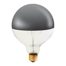 Bulbrite - 100-Watt Half Chrome Decorative G40 Light Bul - One pack of 6 Bulbs. Perfect for open fixtures, pendants, restaurant and retail lighting. The chrome mirrored top reflects light back up towards the fixture, creating a soft, ambient effect. Fully frosted chrome dipped bulbs also available. Lamp Type: Incandescent. Color: Clear. Color Temperature: 2700. Dimmable. Wattage: 100. Voltage: 120. AMPs: 0.83. Base: E26. Avg Hours: 1500. Lumens: 825. Equivalency: 100 Watts. Color Rendering Index (CRI): 100. Beam Spread: 180 degrees. Shape: G40. Maximum Overall Length (MOL): 10. 15 in. L x 10 in. W x 6 in. H (3.024 lbs.)Bulbrite's decorative half chrome mirrored light bulbs are the perfect modern touch to any open fixture or to push light back up allowing you to really highlight a decorative pendant.