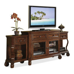 Riverside Furniture - Cape May TV Console Set - Includes TV console and two console end units. Tip restraining hardware included. TV console. Base levelers in bottom of all feet. Two top drawers are constructed with dovetail joinery, mounted on ball-bearing full-extension guides and have a dust panel underneath. Two drawers also feature felt-lined bottoms and two removable dividers for storing/organizing a variety of entertainment CD/DVD's. Two bottom doors feature a wood-frame with a beveled-edge glass insert and each encloses one center adjustable shelf and one fixed bottom panel. Back panel in each doored section has two wiring access and ventilation slots. Removable base molding on the ends of the console enable it to function between piers or as a stand-alone unit. 50 in. W x 20 in. D x 36 in. H (195 lbs.)End units. Drawer is constructed with dovetail joinery, mounted on ball-bearing extension guides, has a felt-lined bottom plus a dust panel underneath. Open storage under drawer with one fixed bottom panel, plus a framed back panel with a decoratively grooved panel insert. Base levelers in bottom of all feet. 21 in. W x 13.75 in. D x 32.5 in. H (54 lbs.). Made from hardwood solid and cherry veneer. Assembly InstructionGraceful curved legs and rolled feet add visual interest to this classic TV console, paired with two end units for added visual interest. Constructed of wood solids and veneer in Chadwick cherry finish, the set includes storage drawers for movies and music as well as adjustable shelves for electronic components.