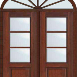 "Prehung French Single Door 96 Wood Mahogany Full Lite 12 Lite - SKU#    MCR06-SDL3_DF34D32-EDBrand    GlassCraftDoor Type    FrenchManufacturer Collection    3 Lite French DoorsDoor Model    3 LiteDoor Material    FiberglassWoodgrain    Veneer    Price    4040Door Size Options    2(36"")[6'-0""]  $0Core Type    Door Style    Door Lite Style    3/4 Lite , 3 LiteDoor Panel Style    1 PanelHome Style Matching    Door Construction    TDLPrehanging Options    PrehungPrehung Configuration    Double Door and Elliptical TransomDoor Thickness (Inches)    1.75Glass Thickness (Inches)    Glass Type    Double GlazedGlass Caming    Glass Features    Tempered glassGlass Style    Glass Texture    ClearGlass Obscurity    No ObscurityDoor Features    Door Approvals    TCEQ , Wind-load Rated , AMD , NFRC-IG , IRC , NFRC-Safety GlassDoor Finishes    Door Accessories    Weight (lbs)    753Crating Size    36"" (w)x 108"" (l)x 89"" (h)Lead Time    Slab Doors: 7 Business DaysPrehung:14 Business DaysPrefinished, PreHung:21 Business DaysWarranty    Five (5) years limited warranty for the Fiberglass FinishThree (3) years limited warranty for MasterGrain Door Panel"