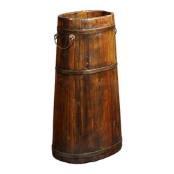 Antique Revival - Natural Vintage Tall Jeon Bucket - A vintage tall wooden bucket, handcrafted from pine wood and strengthend with thin iron wires around the sides. Formerly used to store tools such as spades and pitchforks, this bucket is finished with two half crescent iron handles. Makes an excellent corner piece, looks great with tall, cut bamboo and/or other assorted tall grass. The distressed natural wood can accentuate your home perfectly. Also makes a great gift!
