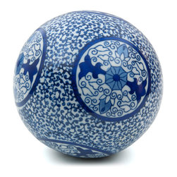 "Oriental Furniture - 6"" Decorative Porcelain Ball - Blue Medallions - This breathtaking porcelain ball features a traditional Eastern blue and white ivy design with six elegant medallions. A wonderful way to accentuate your home decor, this ceramic orb sits handsomely on the shelf or display cabinet and would make a creative addition to a table centerpiece."