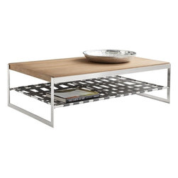Sunpan - Wisdom Coffee Table, Distressed Oak, Stainless Steel, and Grey Leatherette - This very unique coffee table is made from a mixture of oak and oak veneer with a distressed finish, stainless steel and webbed grey leatherette. No assembly required.
